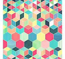 Yummy Summer Colour Honeycomb Pattern Photographic Print