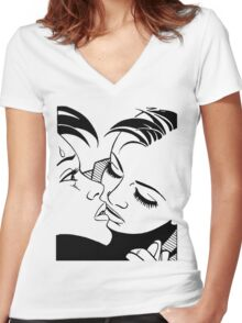 l & r Women's Fitted V-Neck T-Shirt