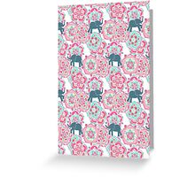 Tiny Elephants in Fields of Flowers Greeting Card