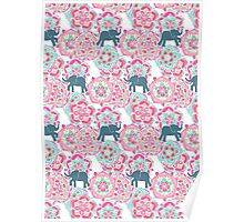 Tiny Elephants in Fields of Flowers Poster