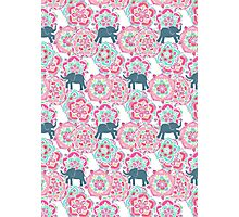 Tiny Elephants in Fields of Flowers Photographic Print