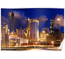 Paper Mill by Winter Night Poster