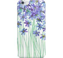 Purple Daisies in Watercolor & Colored Pencil  iPhone Case/Skin