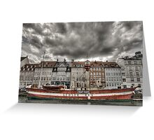 Nyhavn lighthouse boat Greeting Card