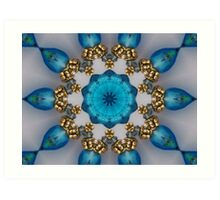 Blue and Gold Kaleidoscope Art Print