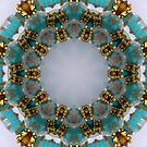 Aqua and Gold Kaleidoscope by Erica Long