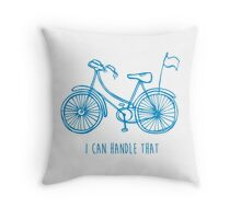 Hipster bicycle - blue Throw Pillow
