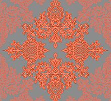 Burnt Orange, Coral & Grey doodle pattern by micklyn