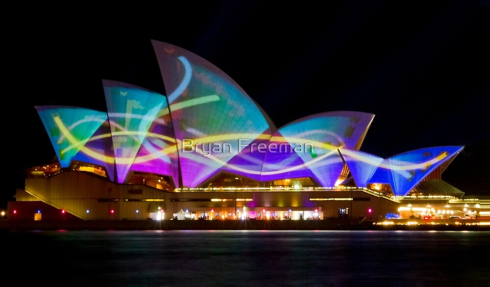 Sail Streamers - Sydney Vivid Festival - Sydney Opera House by Bryan Freeman