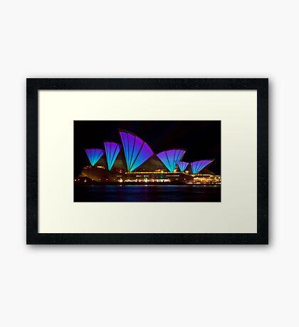Clear Blue Sails - Sydney Vivid Festival - Sydney Opera House Framed Print