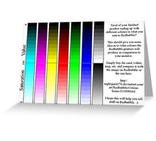 Redbubble printer color test Greeting Card