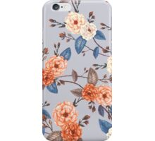 Roses in Auburn and Peach on Dove Grey iPhone Case/Skin