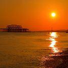 Burnished Sunset - Brighton - England by Bryan Freeman