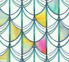 Pencil & Paint Fish Scale Cutout Pattern - white, teal, yellow & pink Sticker
