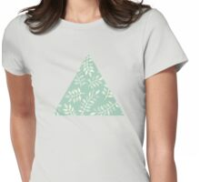 Painted Leaves - a pattern in cream on soft mint green Womens Fitted T-Shirt