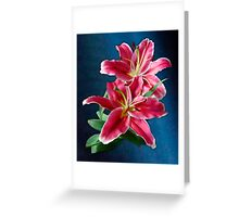 Bright Pink Lilies Greeting Card