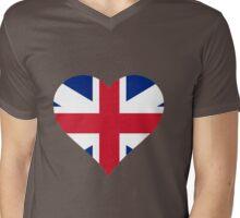 British Flag Heart Mens V-Neck T-Shirt