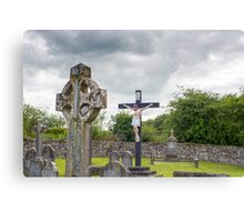 celtic cross headstone and crucifix Canvas Print