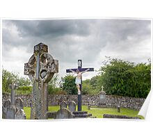 celtic cross headstone and crucifix Poster