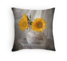 Textured Sunflowers in Pitcher Throw Pillow