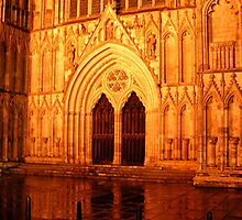 Minster Abbey portal in York by night by patjila