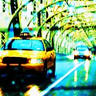 taxi over queensboro bridge by Ravia Khatun