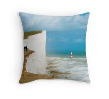 Beachy Head Clifftop and Lighthouse Throw Pillow
