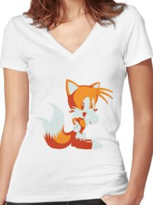 Minimalist Tails Women's Fitted V-Neck T-Shirt
