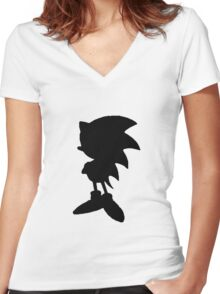Classic Sonic Silhouette 2 Women's Fitted V-Neck T-Shirt