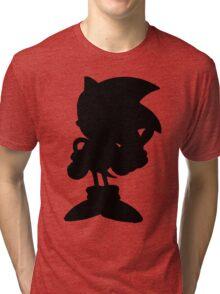 Classic Sonic Silhouette - Black Tri-blend T-Shirt