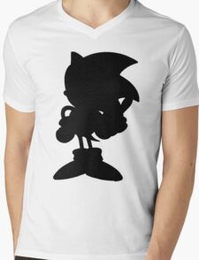 Classic Sonic Silhouette - Black Mens V-Neck T-Shirt