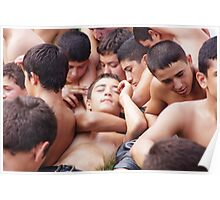 Young Turkish wrestler boys relaxing before the match Poster