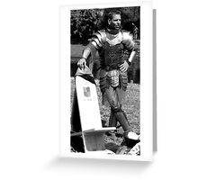 Pondering knight before battle. Greeting Card