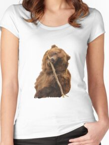 Grizzly Bear Cute Women's Fitted Scoop T-Shirt