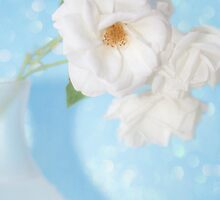 """Whispery White Roses on Blue"" by Susan Gary"