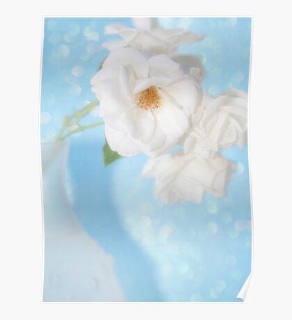 """""""Whispery White Roses on Blue"""" Poster"""