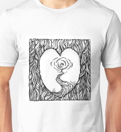 Abstract Meditation Black and White Art. Hand draw  ink and pen on textured paper Unisex T-Shirt
