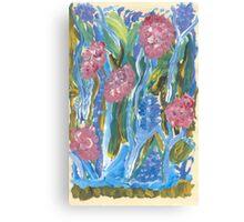 Mauve and Blue Flowers Canvas Print