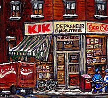 MONTREAL ART CITY LANDSCAPE KIK COLA DEPANNEUR BEST MONTREAL PAINTINGS by Carole  Spandau