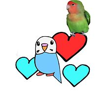 Cartoon Budgie with Real Peach-faced Lovebird  by parakeetart