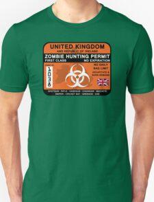 Zombie Hunting Permit - UK and ROI Unisex T-Shirt