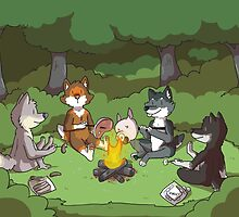Campfire Wolves by Clair C