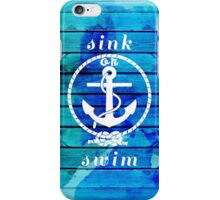 Ocean Blue Watercolor Wood and Anchor Quote iPhone Case/Skin