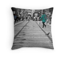 Bourke Street in Yellow Green & Blue Throw Pillow