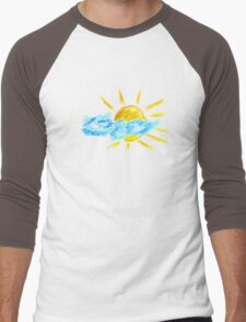 Hand Drawn Sun and Clouds Men's Baseball ¾ T-Shirt