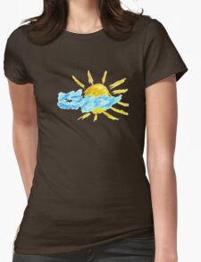 Hand Drawn Sun and Clouds Womens Fitted T-Shirt