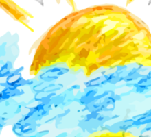 Hand Drawn Sun and Clouds Sticker