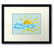 Hand Drawn Sun and Clouds Framed Print