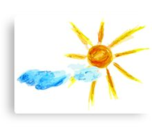 Hand Drawn Sun and Clouds 2 Canvas Print