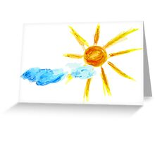 Hand Drawn Sun and Clouds 2 Greeting Card